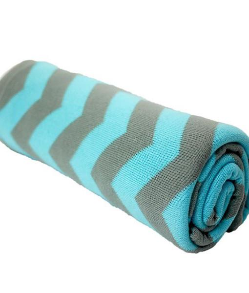 美國-Choopie-純棉推車毯-湖藍條紋
