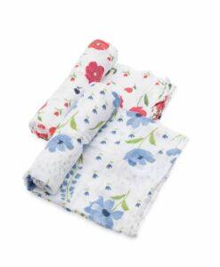 LittleUnicorn 有機棉紗布巾兩入組 夏日花漾01