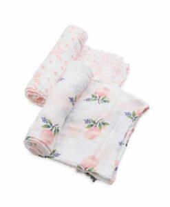 LittleUnicorn 有機棉紗布巾兩入組 粉嫩玫瑰01