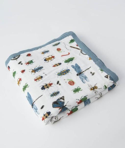 LittleUnicorn 竹纖維四層紗布毯 昆蟲圖鑑02