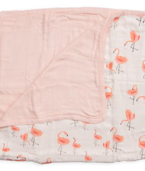 LittleUnicorn 竹纖維四層紗布毯 熱帶紅鶴