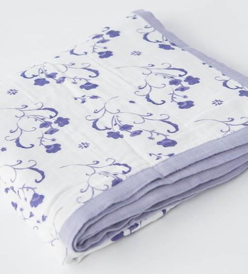 LittleUnicorn 竹纖維四層紗布毯 青花瓷