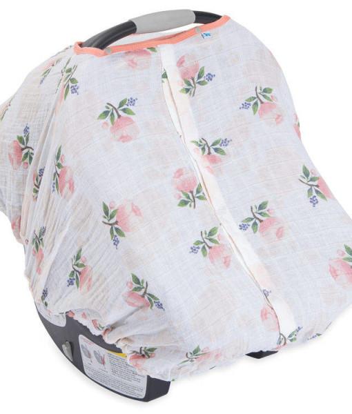 LittleUnicorn 純棉紗布提籃罩 粉紅玫瑰