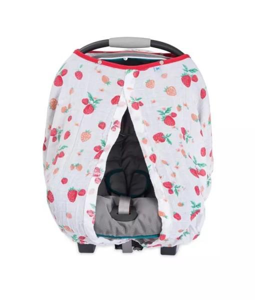 LittleUnicorn 純棉紗布提籃罩 草莓牛奶02
