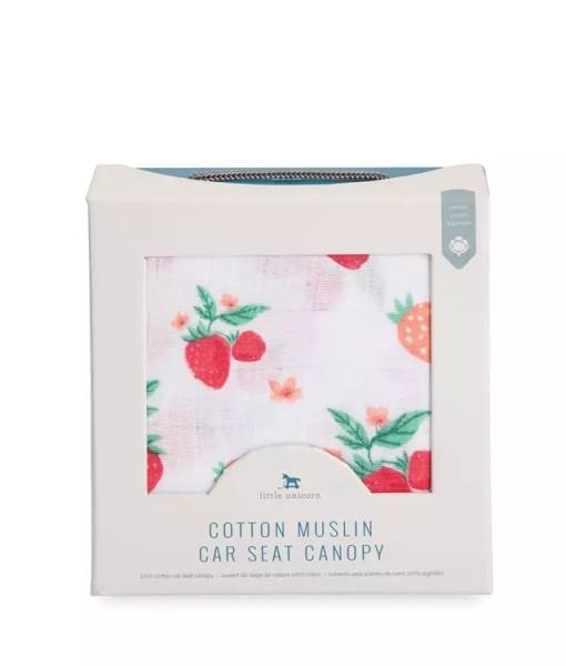 LittleUnicorn 純棉紗布提籃罩 草莓牛奶03