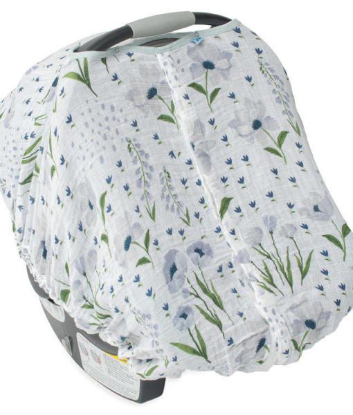 LittleUnicorn 純棉紗布提籃罩 藍色花海