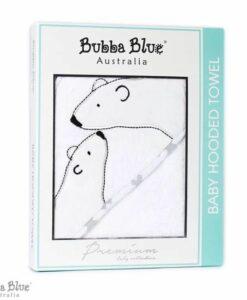 BubbaBlue 方形連帽浴巾 親親北極熊