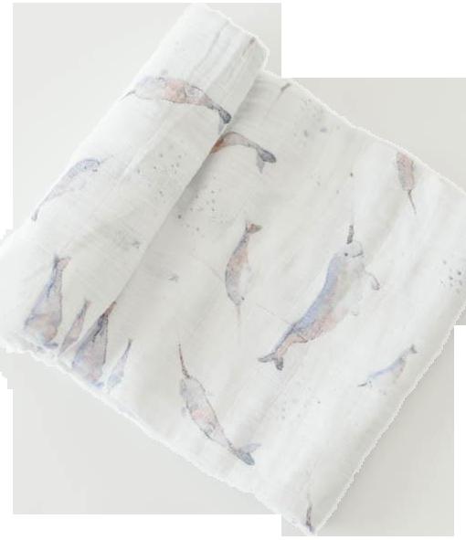 cotton muslin swaddle single 獨角鯨
