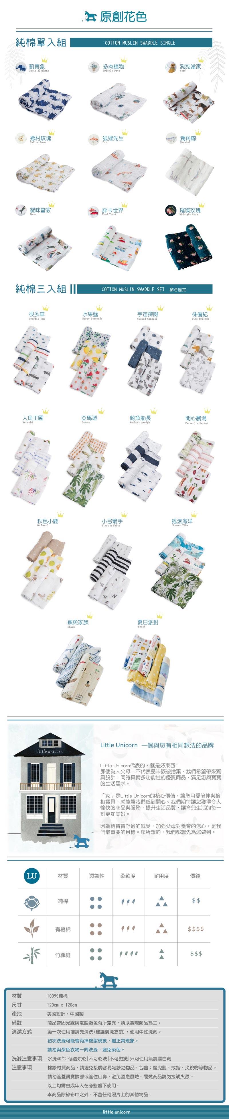 LittleUnicorn 純棉紗布巾info02