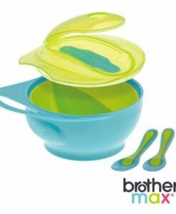 輕鬆握攜帶型學習碗 藍, 附感溫湯匙x2 01