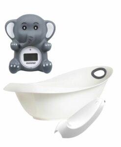 mininor 丹麥寶寶澡盆浴缸新生兒浴架沐浴溫度計大象