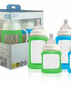 CherubBaby 防摔寬口玻璃奶瓶禮盒組(四入)-藍綠