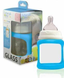 CherubBaby 防摔寬口玻璃奶瓶 150ml單入組-藍01