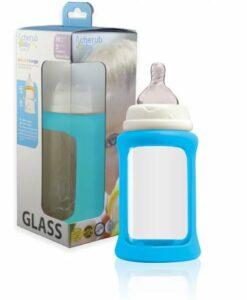 CherubBaby 防摔寬口玻璃奶瓶 240ml單入組 寶石藍01