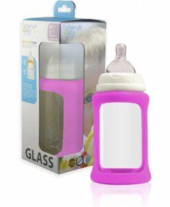 CherubBaby 防摔寬口玻璃奶瓶 240ml單入組 水晶紫01